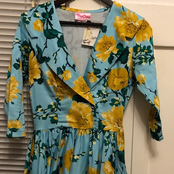 a0db2fdfebb7b Vintage Dresses | 50s Yellow And Blue Flower Pattern Swing Dress ...